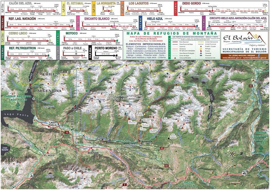 mapa trekking bolson