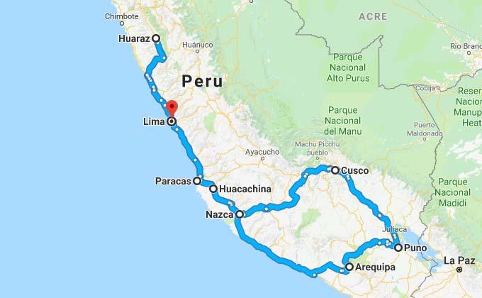 mapa roteiro mochilão peru
