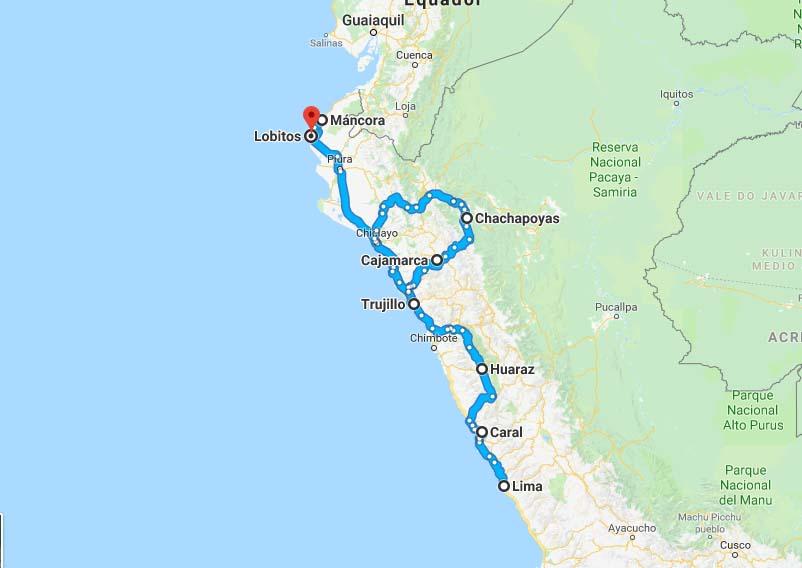 mapa roteiro norte peru